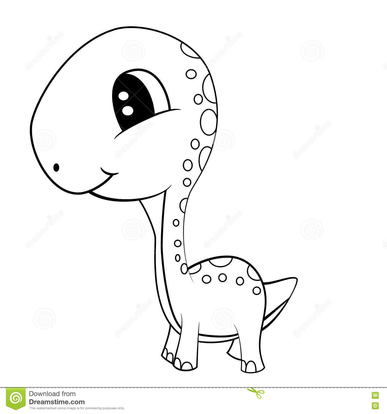 Cartoon Of Green Baby Brontosaurus Dinosaur Vector Illustration