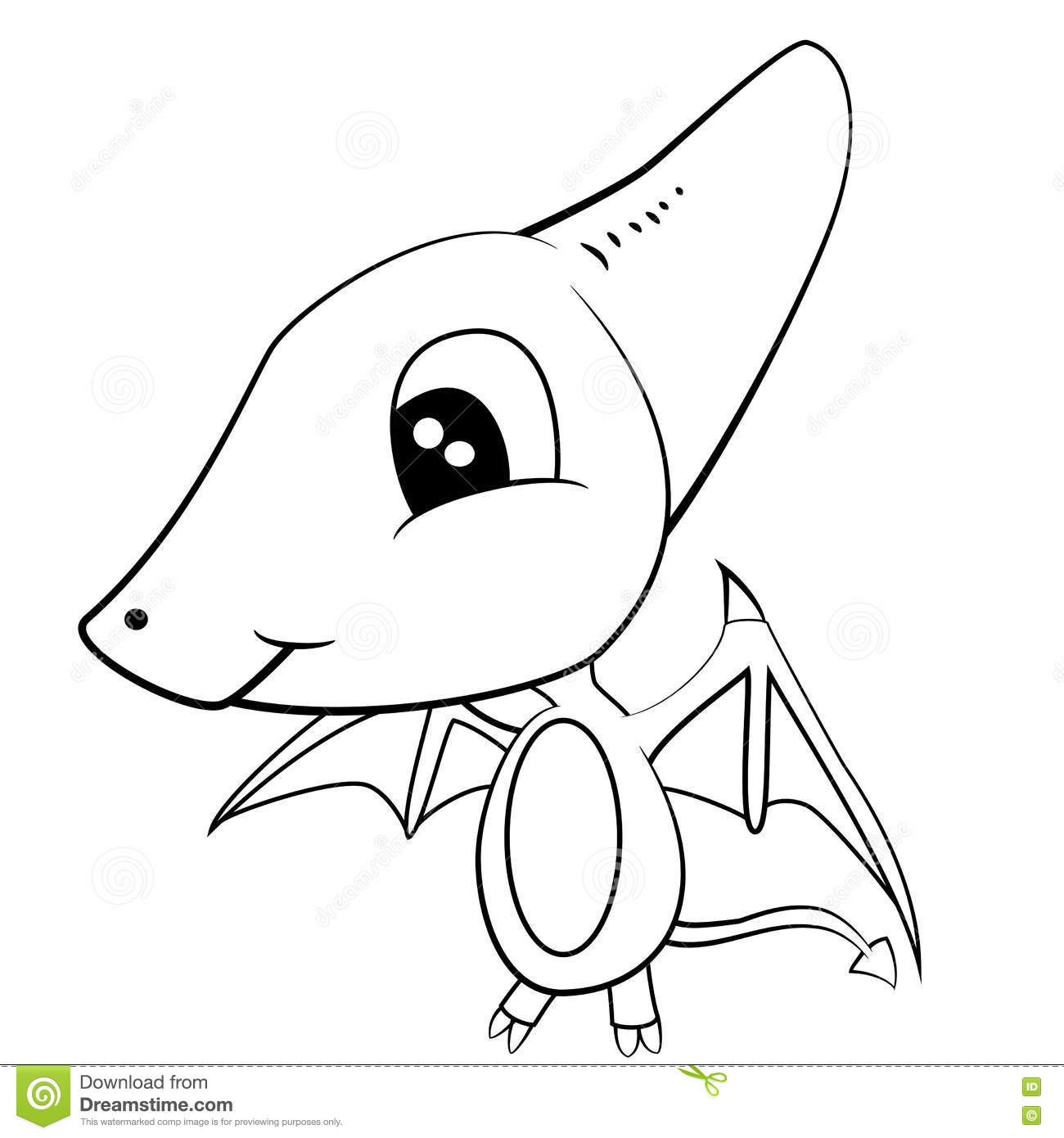 Cute Black And White Cartoon Of Baby Pterodactyl Dinosaur