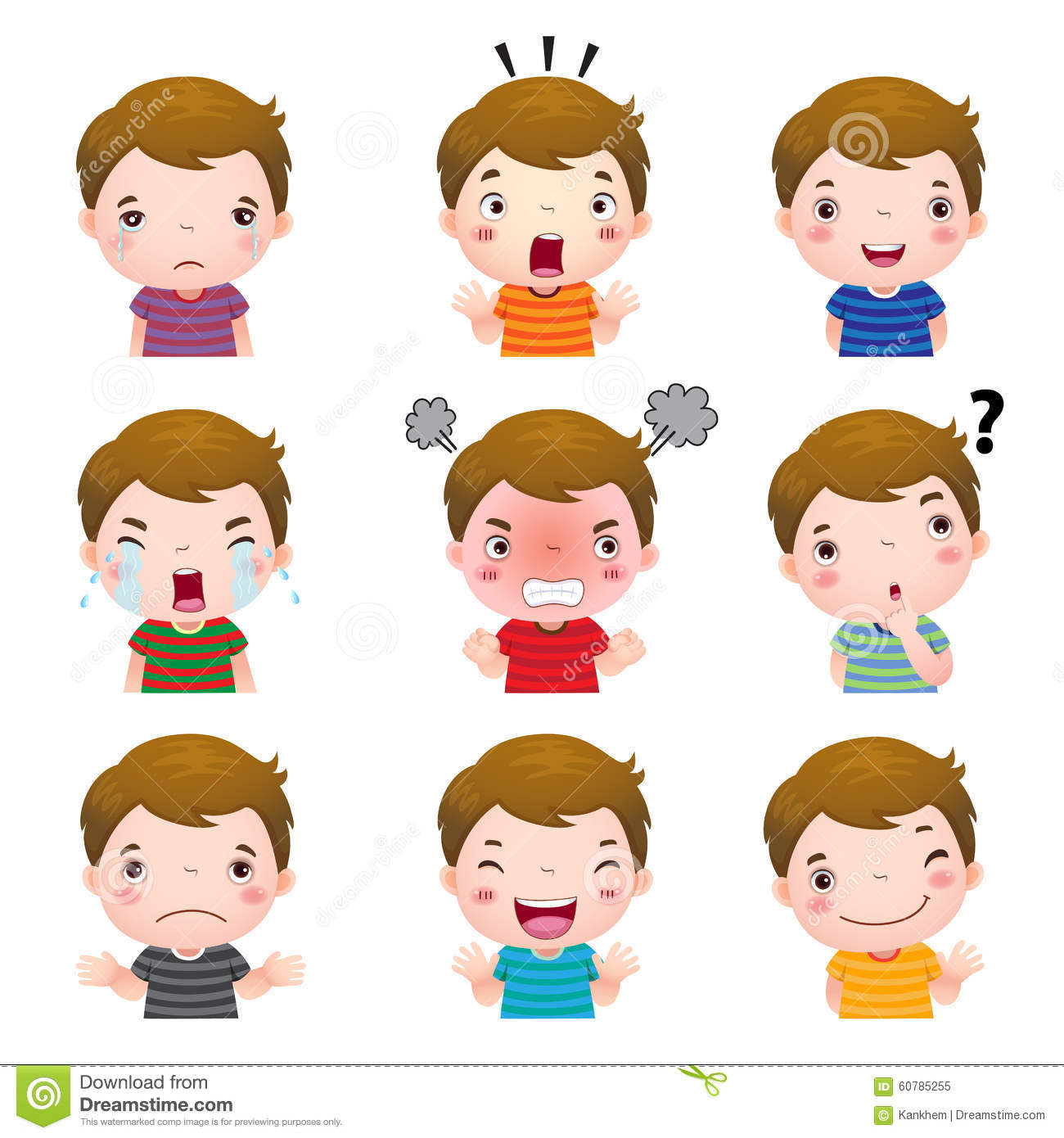 Cute Boy Faces Showing Different Emotions Stock Vector