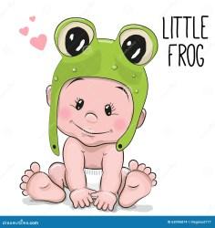 cartoon cute baby frog background boy hat illustration