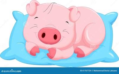 pig cartoon baby cute sleeping illustration vector