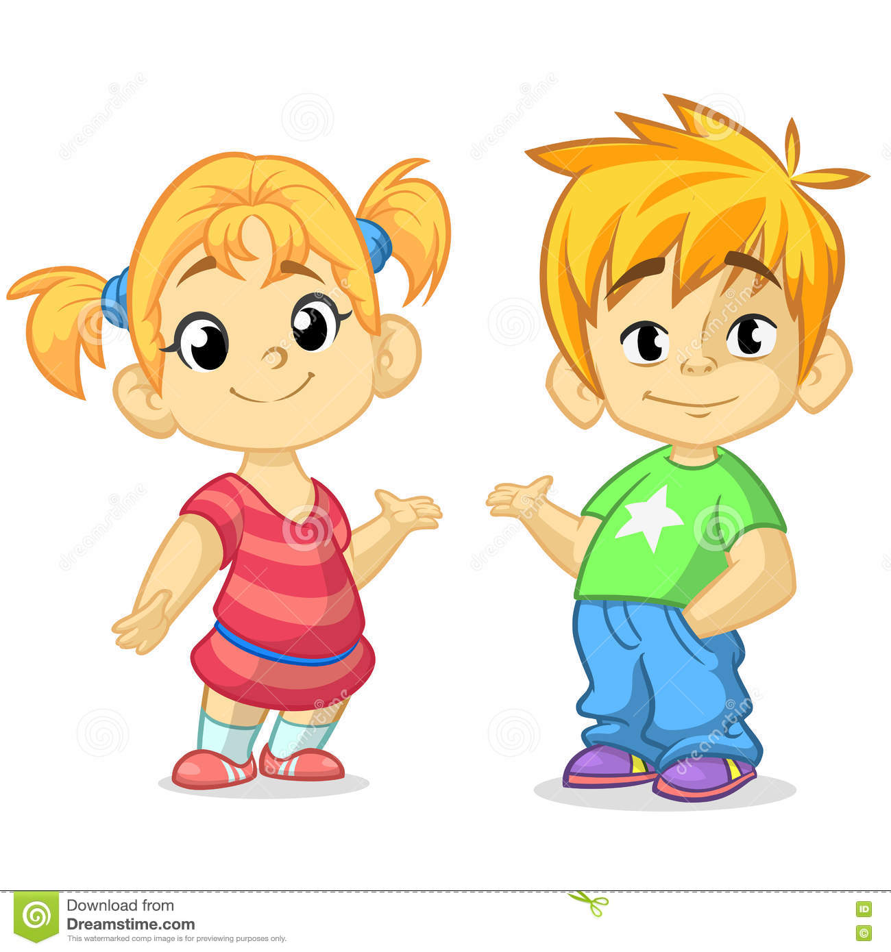 Cute Cartoon Boy And Girl With Hands Up Vector
