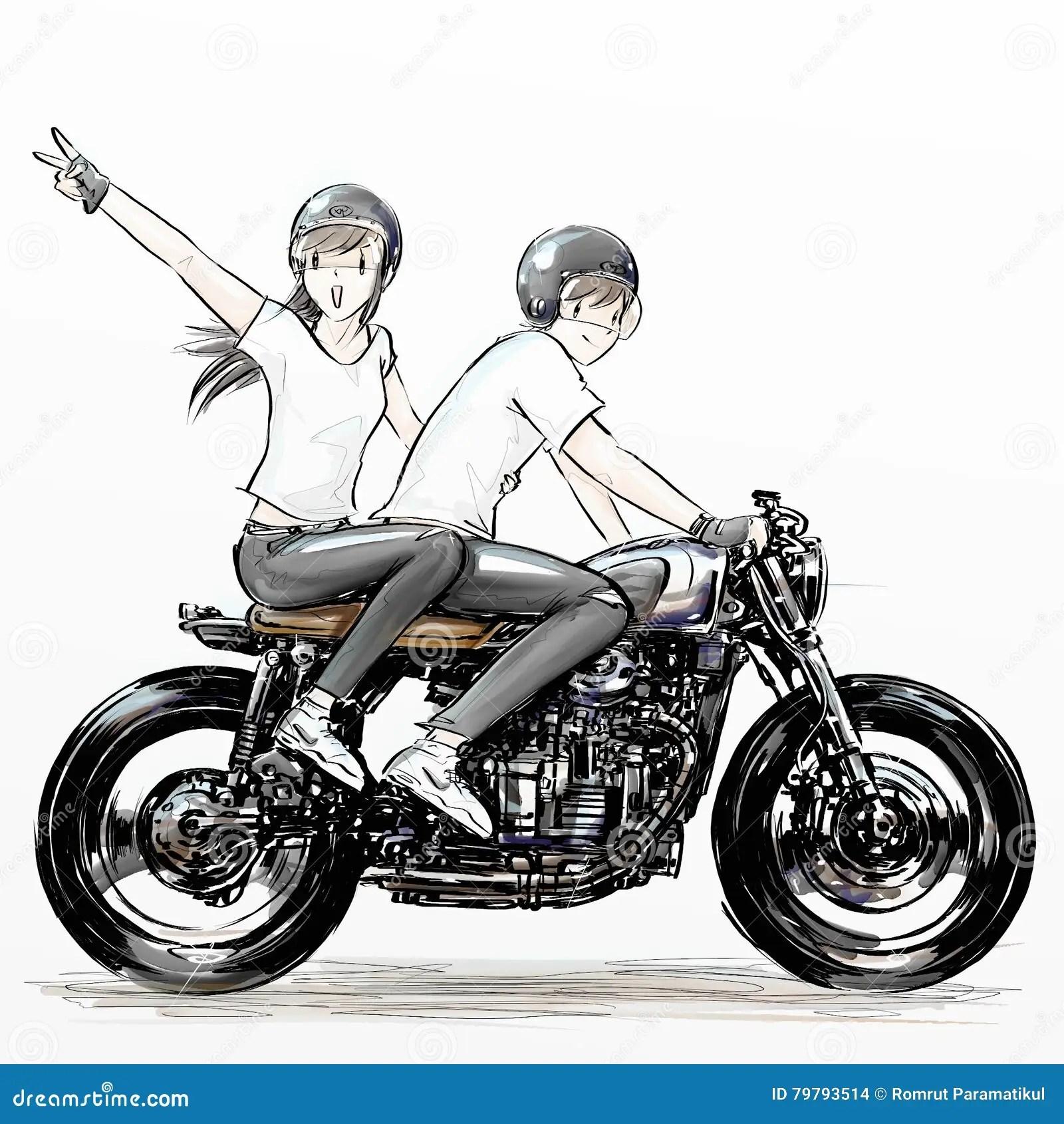 Cute Cartoon Boy And Girl Riding Motorcycle Stock