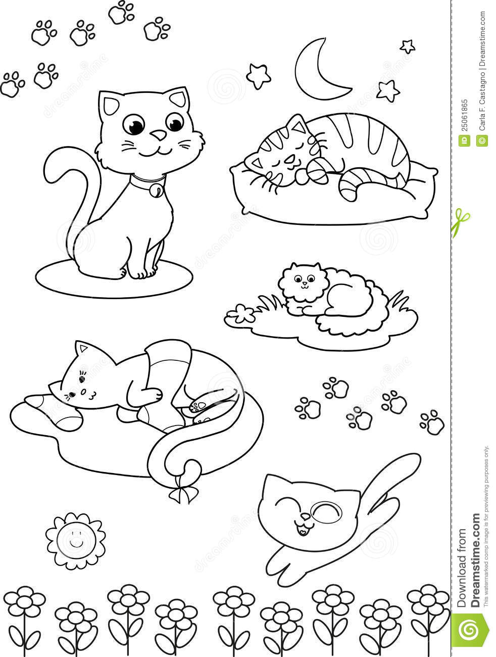 Cute Cartoon Cats: Coloring Vector Page Royalty Free Stock
