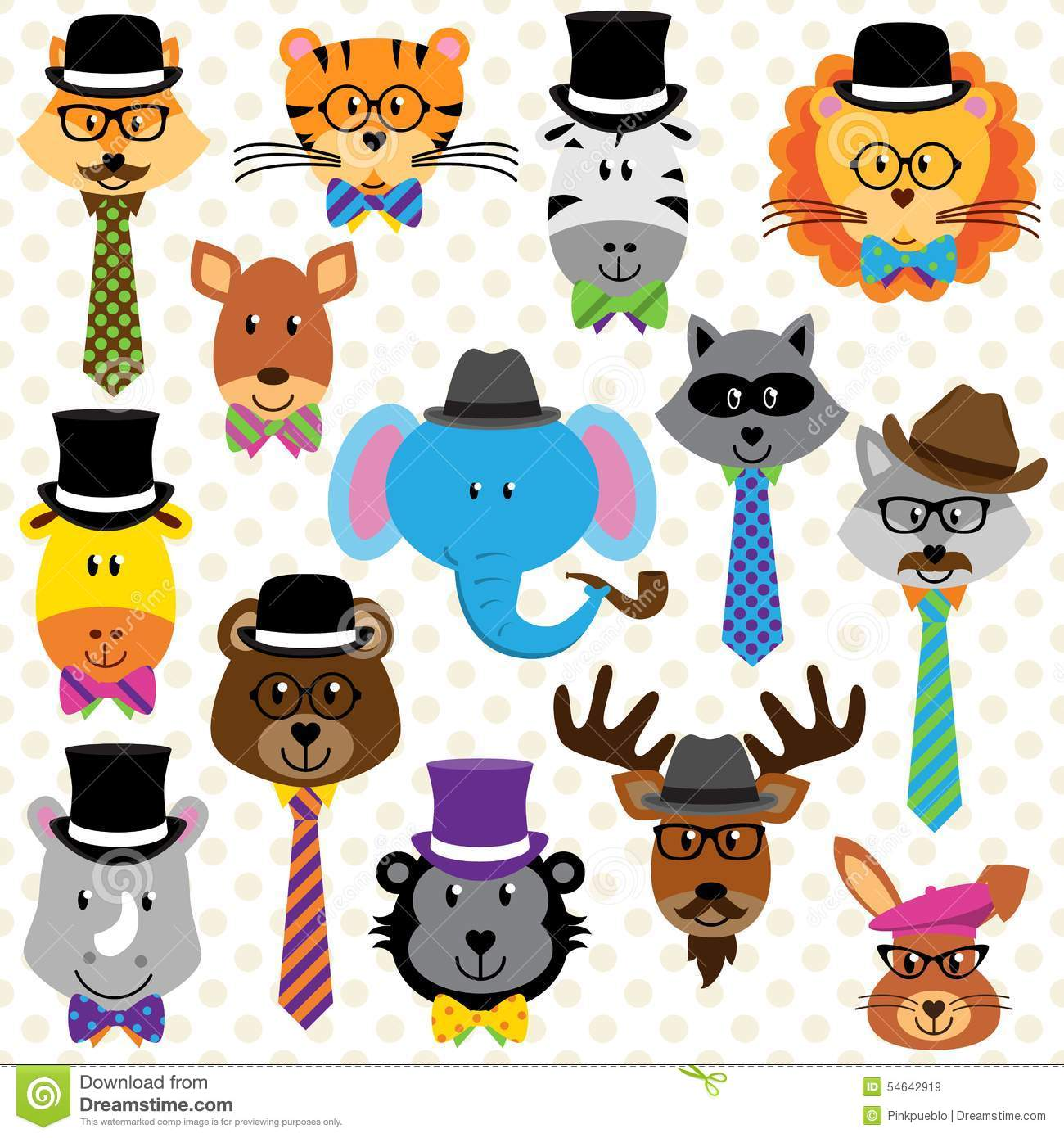 Cute Cartoon Collection Of Well Dressed Animals Stock
