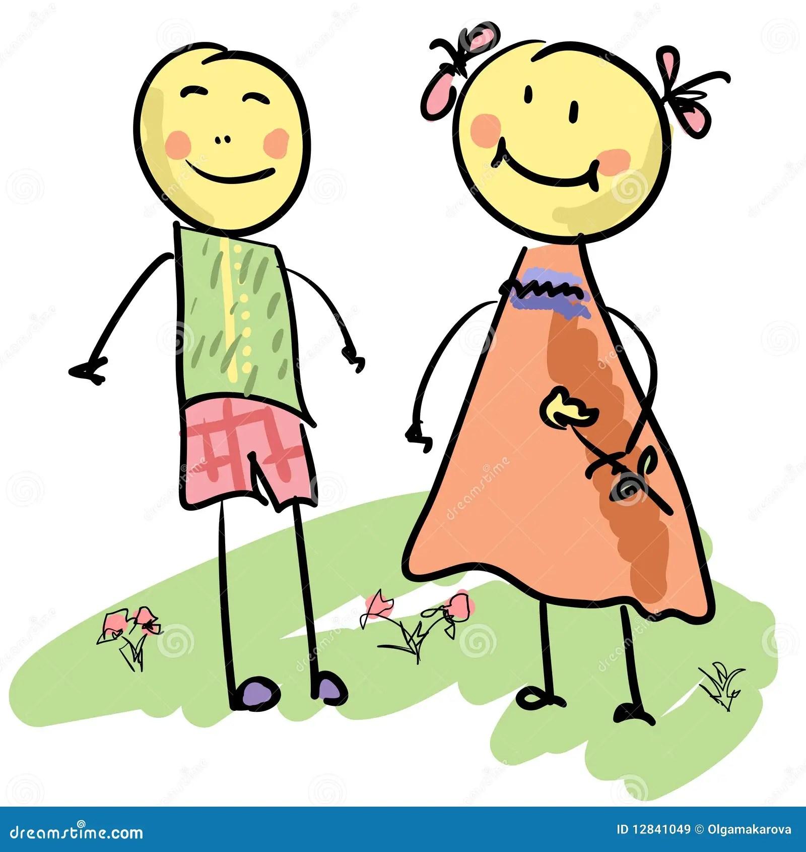 Wallpaper Girl Boy Holding Hands Cute Cartoon Couple Stock Vector Image Of Female Love