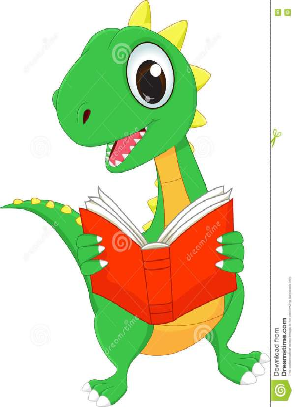 Cute Cartoon Dinosaur Reading Book Stock Vector