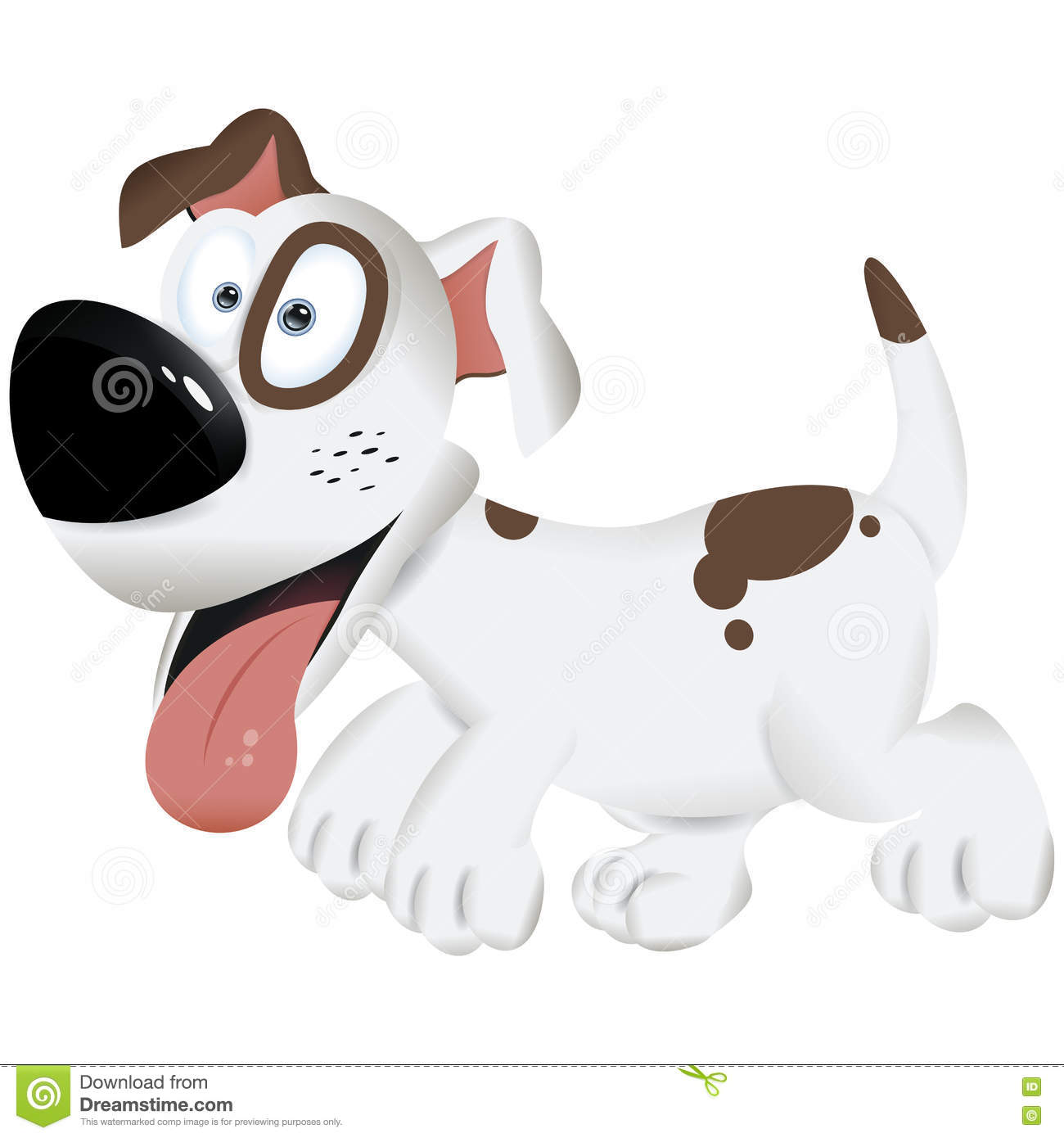 Cute Cartoon Dog White And Brown Dog Vector Illustration Stock Illustration Illustration Of Drawing Mammal 79415073