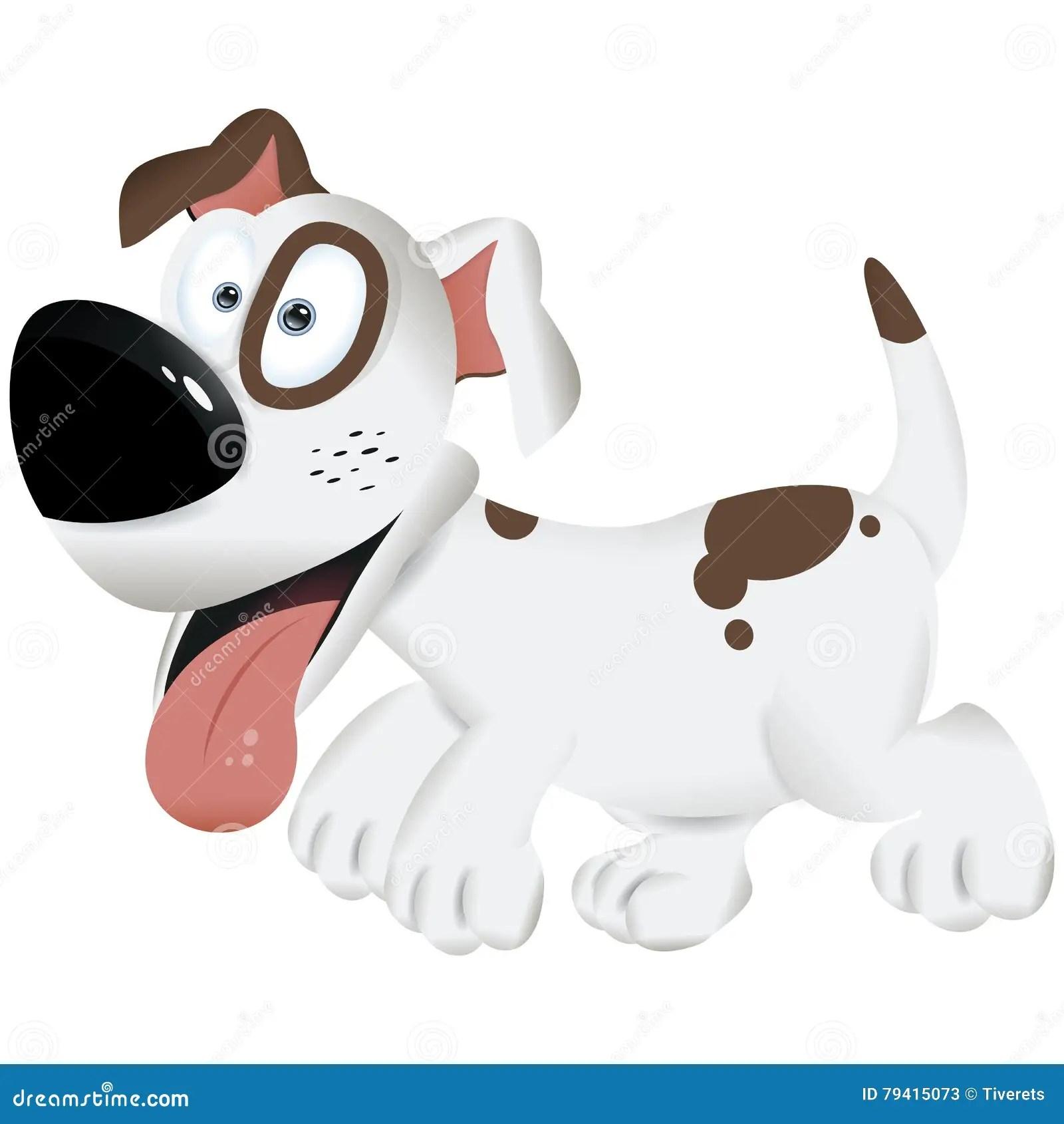 Cute Cartoon Dog White And Brown Dog Vector Illustration Stock Illustration Illustration Of Drawing Mammal 79415073
