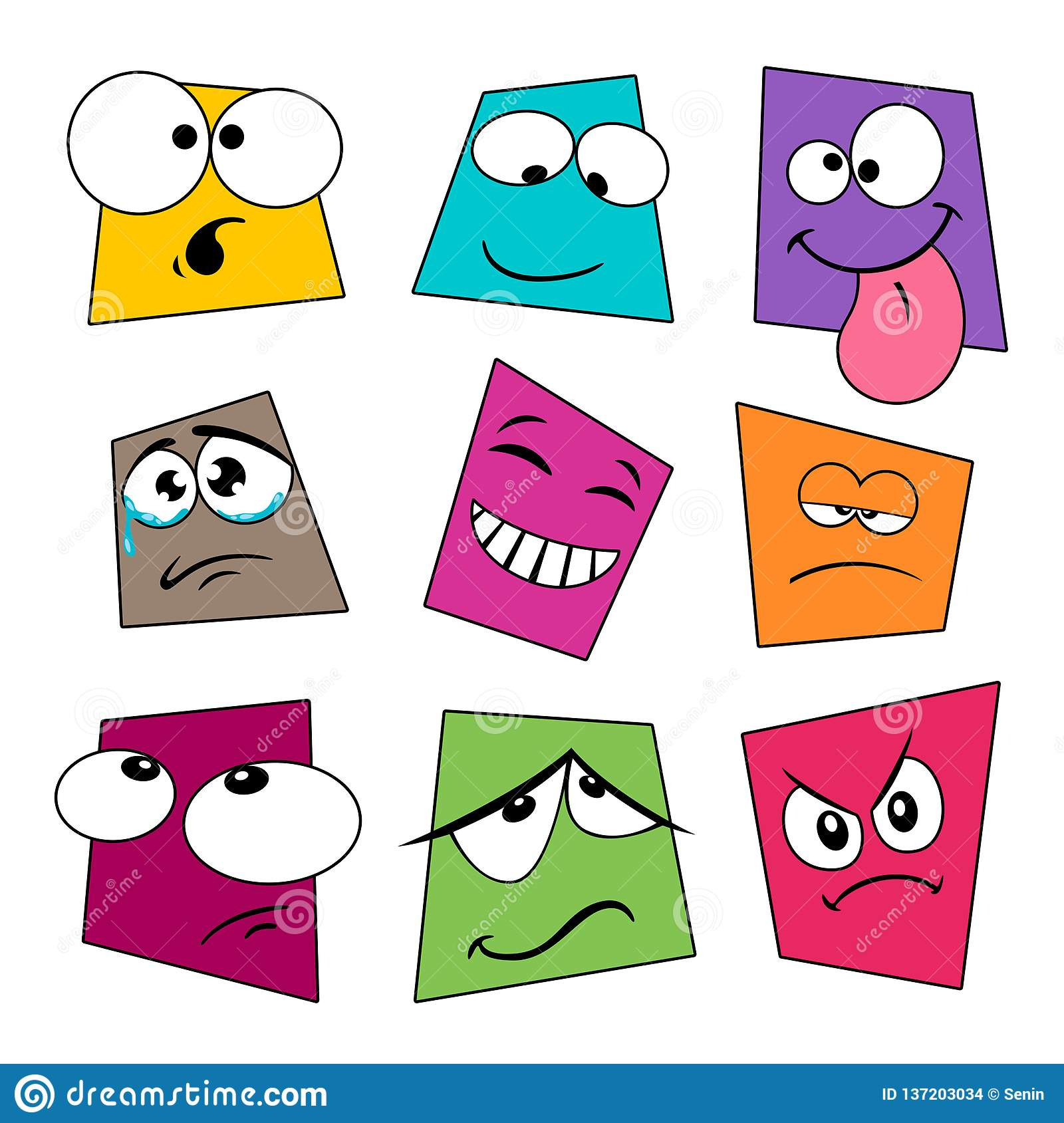 Cute Cartoon Emotional Expressive Faces Collection Stock