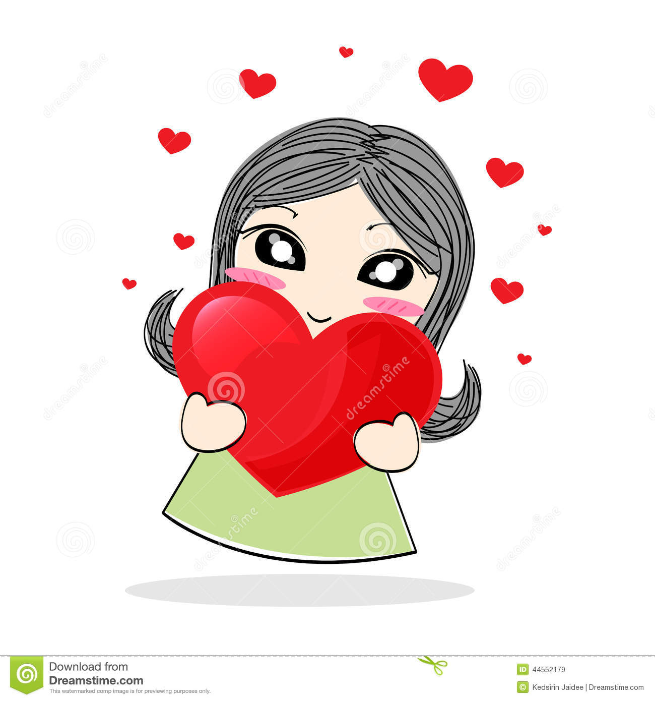 Image of: Fox Cute Cartoon Girl Holding Red Heart Dreamstimecom Cute Cartoon Girl Holding Red Heart Stock Vector Illustration Of