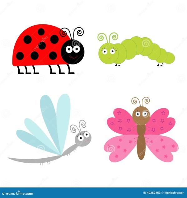 cute cartoon insect set. ladybug
