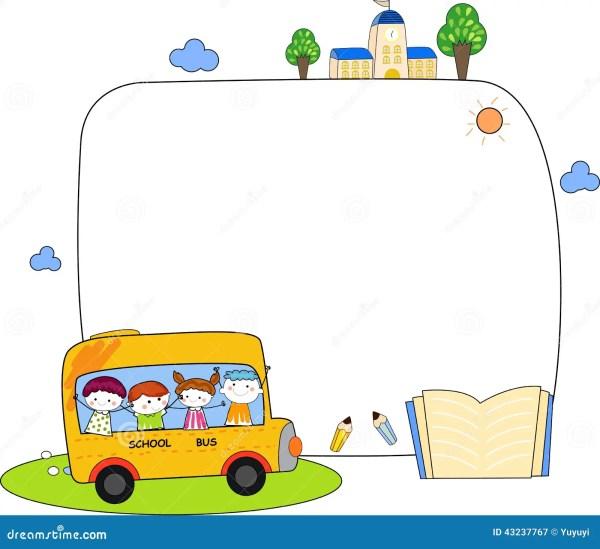 Cute Cartoon Kids And School Bus Frame Stock Vector