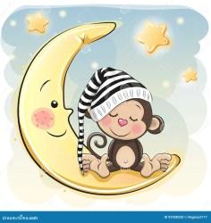 sleeping cartoon monkey moon cute vector reginast777 shutterstock baby bear teddy drawing dibujos clip sleep monkeys cartoons animados vectors caricatura