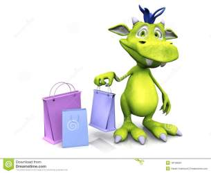 shopping cartoon cute monster holding bag friendly dragon bags clipart balloons royalty goofy monsters gift illustration gograph clapboard film illustrations