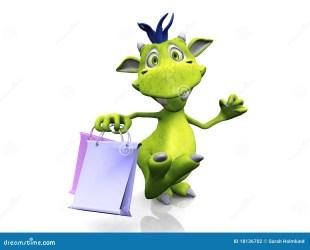 shopping cartoon holding bags monster