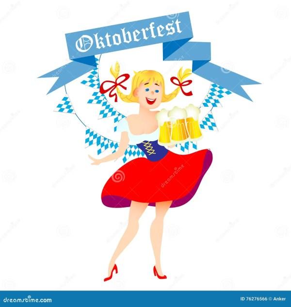 Cute Cartoon Oktoberfest Girl Vector Illustration