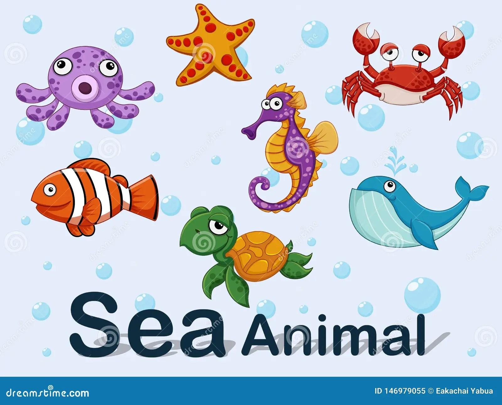 Cute Cartoon Sea Animals Underwater Vector Illustration Set Of Collection Sea Creatures Stock Vector Illustration Of Comic Collection 146979055