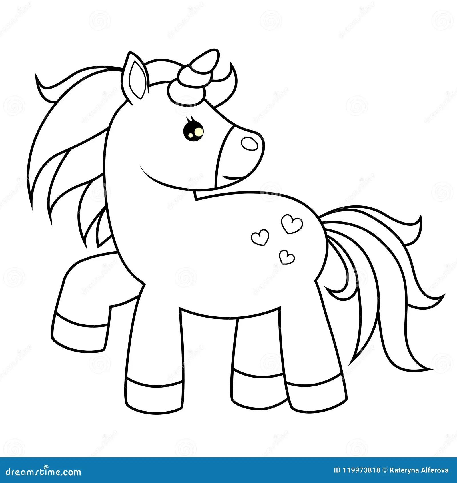 Cute Cartoon Unicorn Black And White Vector Illustration