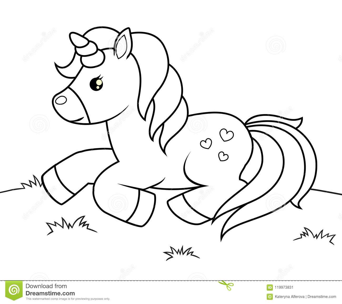 Cute Cartoon Unicorn Black And White Vector Illustration For Coloring Book Stock Vector