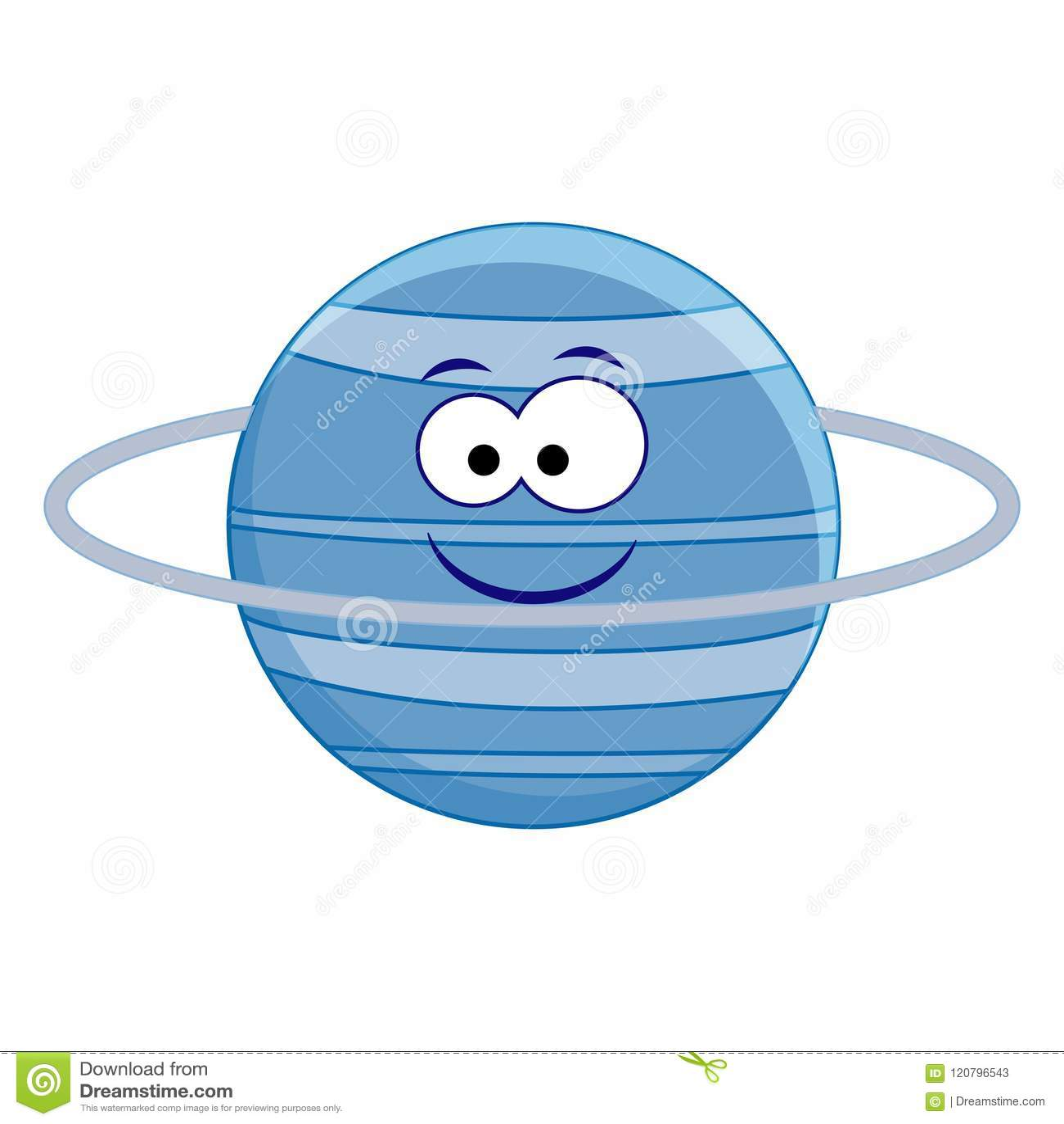hight resolution of cute cartoon uranus planet vector illustration isolated on whi