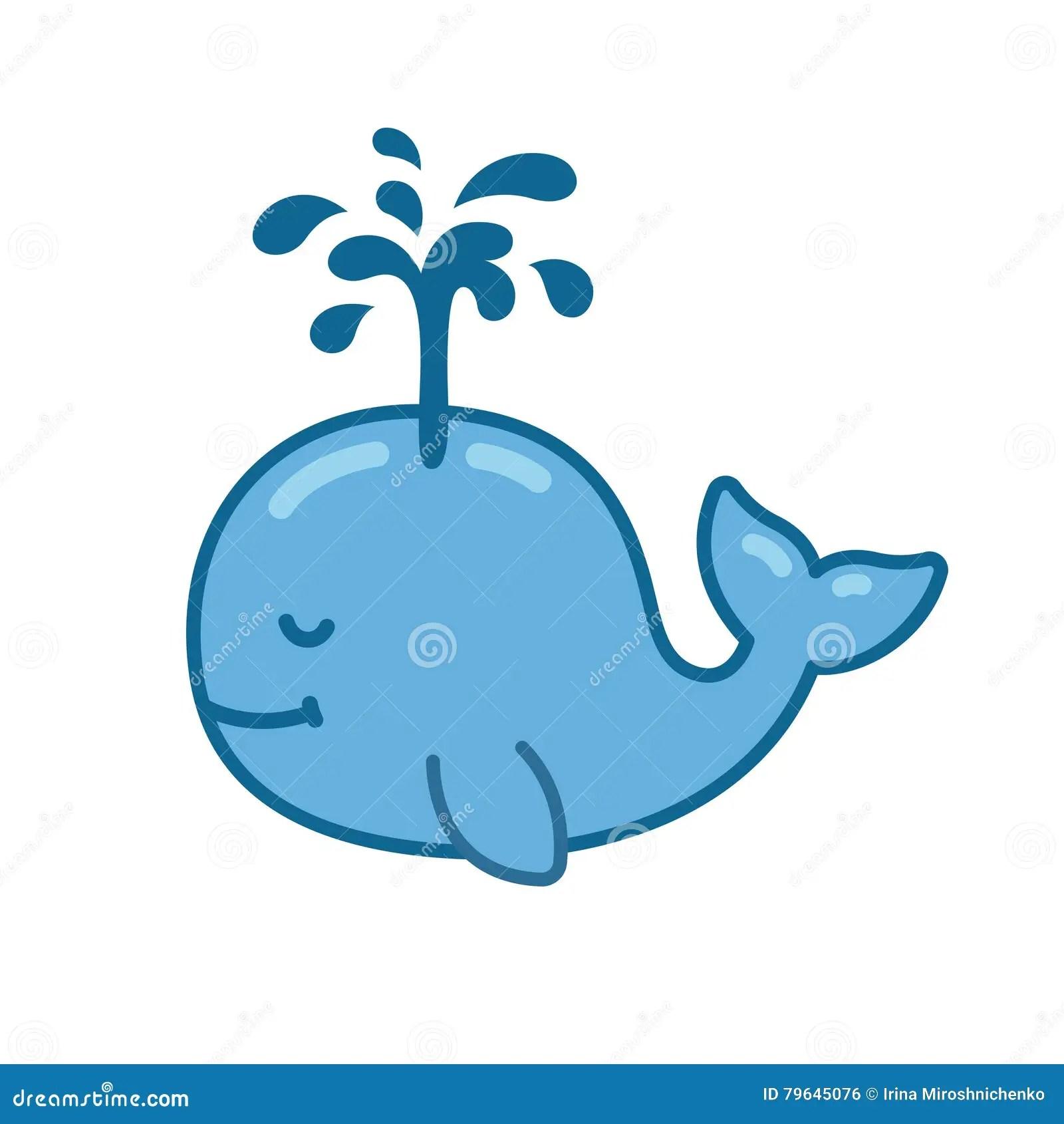 Cute Cartoon Whale Stock Vector Illustration Of Fountain