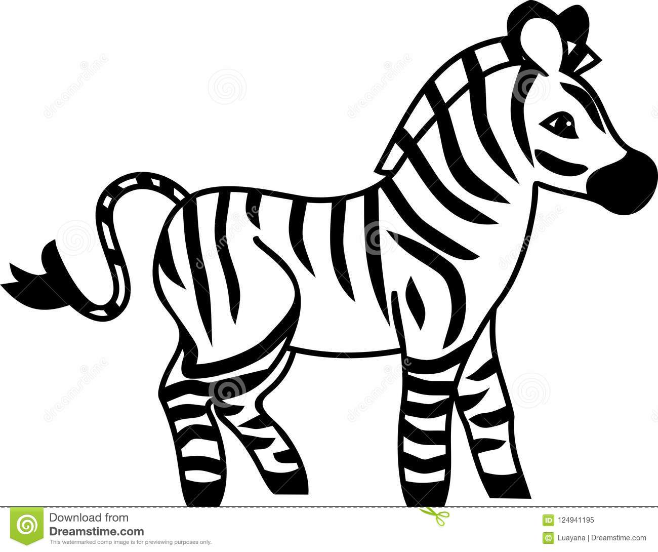 Cute Cartoon Zebra On White Background Stock Vector