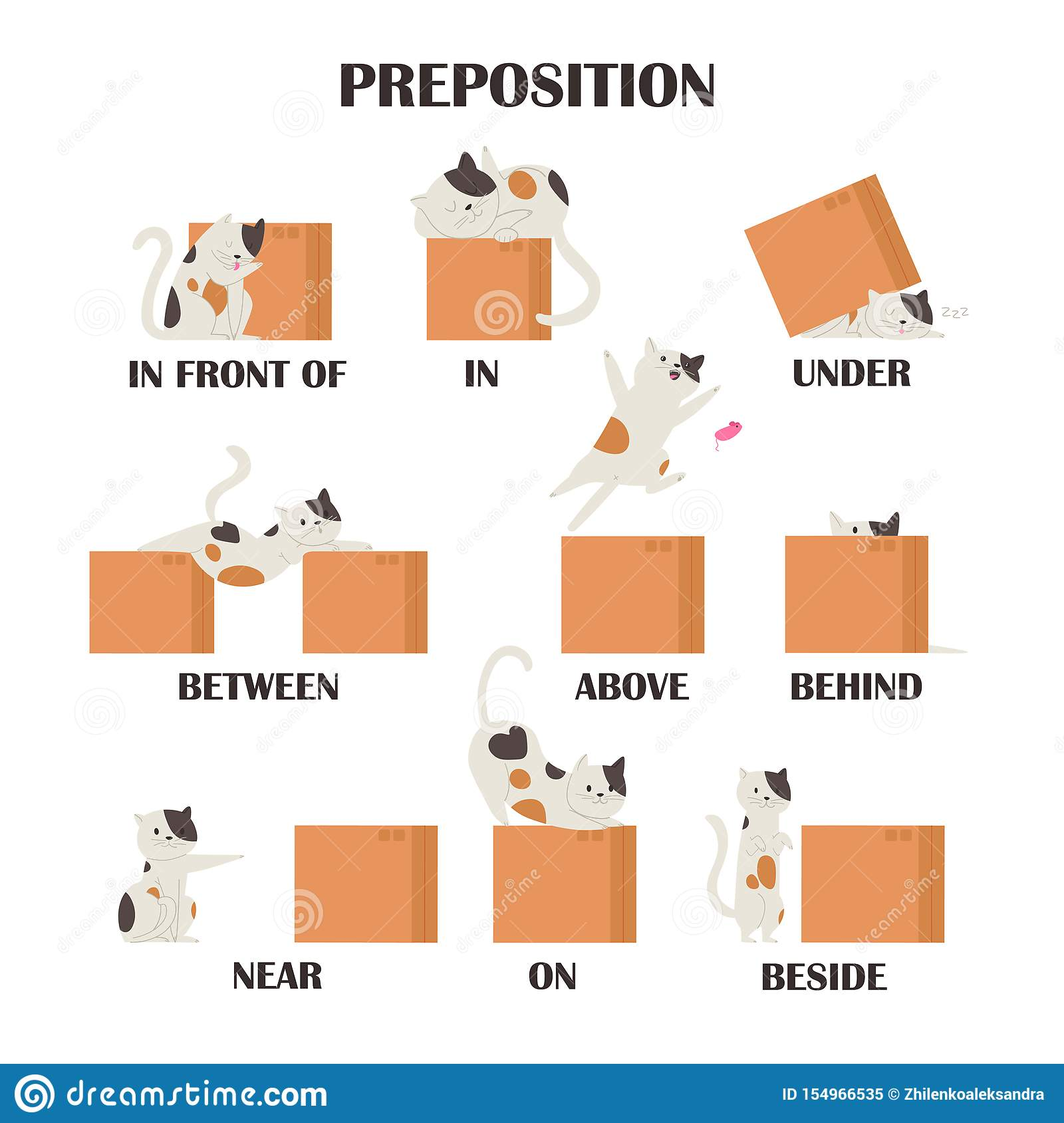 Pug Set Learning Preposition Concept Animal Above And