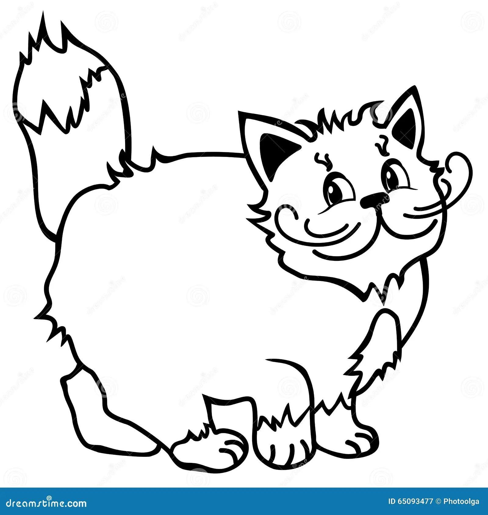 Cute Cat Simple Line Drawing Smiling Cat Cartoon Stock