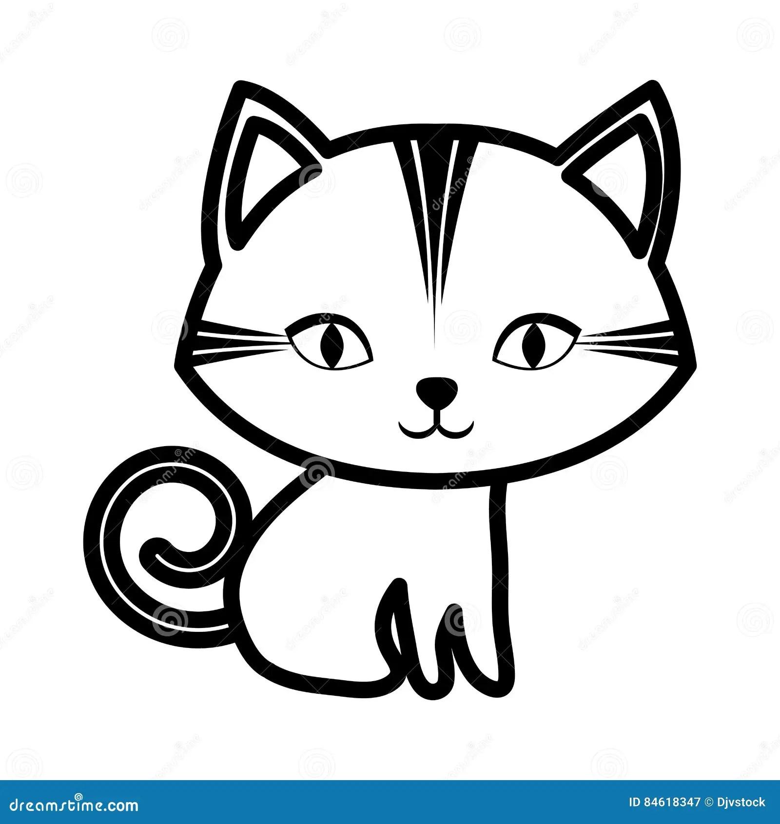 Cute Cat Stripes Sitting Outline Stock Illustration