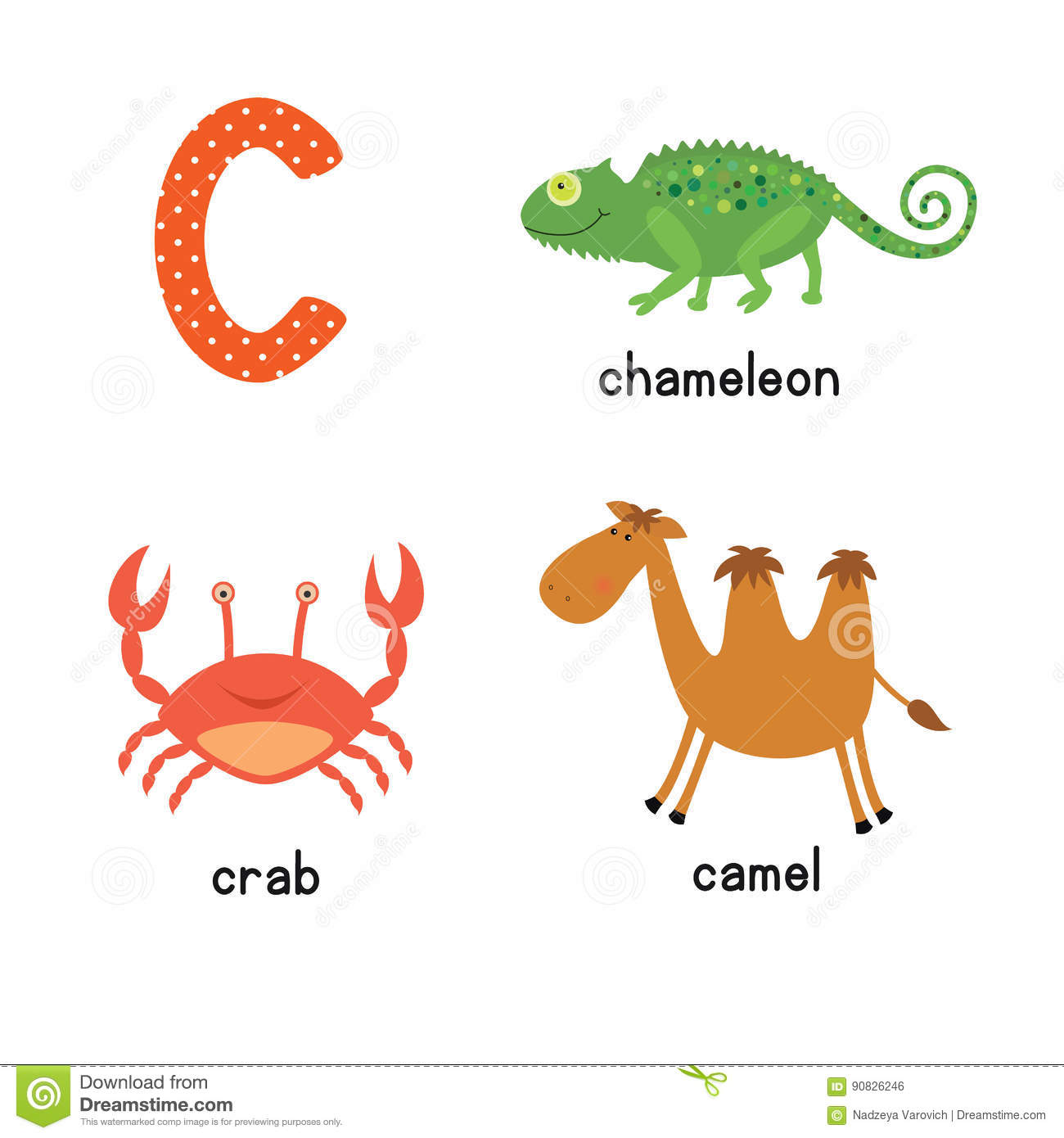 Cute Children Zoo Alphabet C Letter Tracing Of Funny