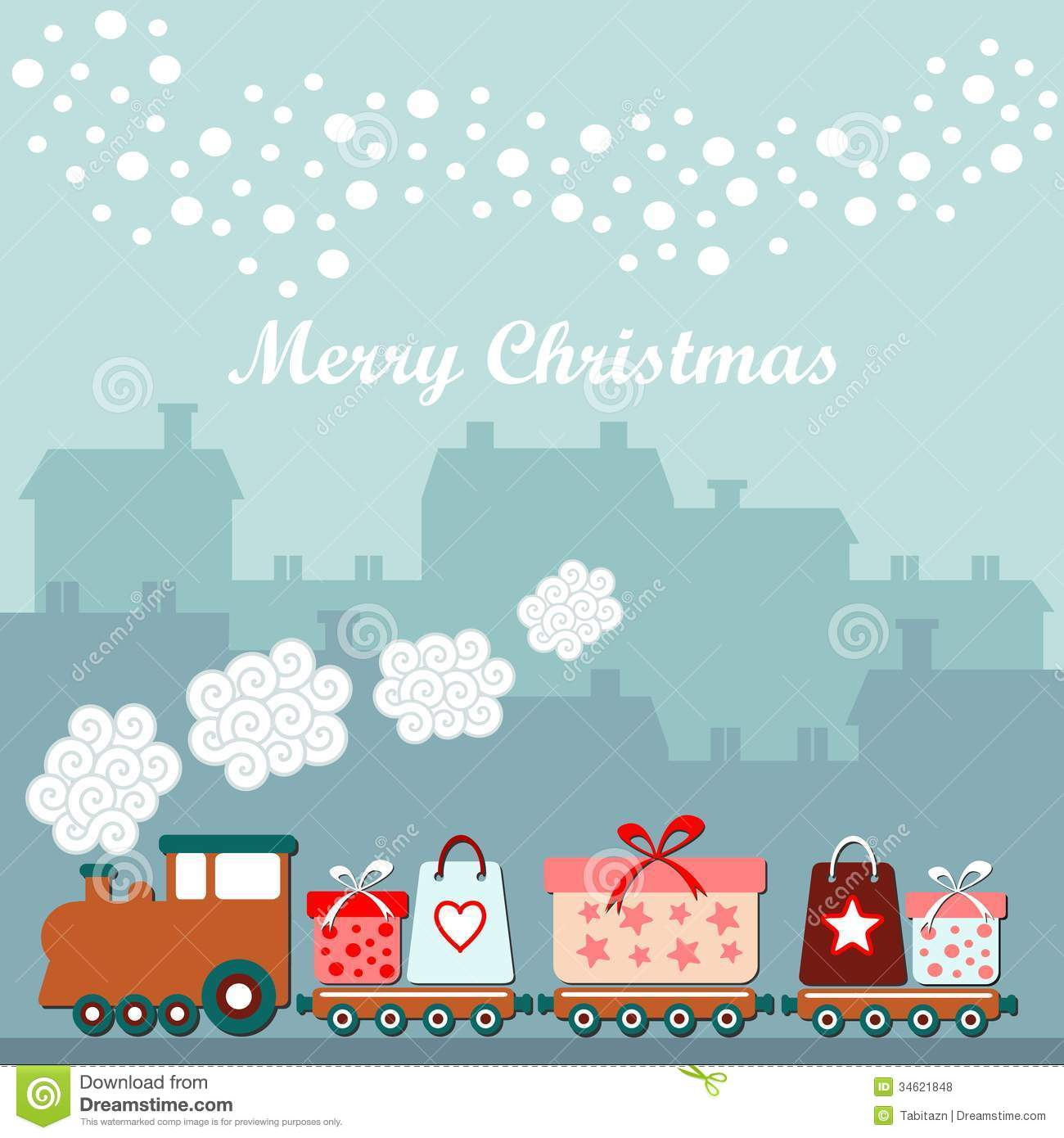 Snow Falling Wallpaper Hd Cute Christmas Card With Train Gifts Winter Houses
