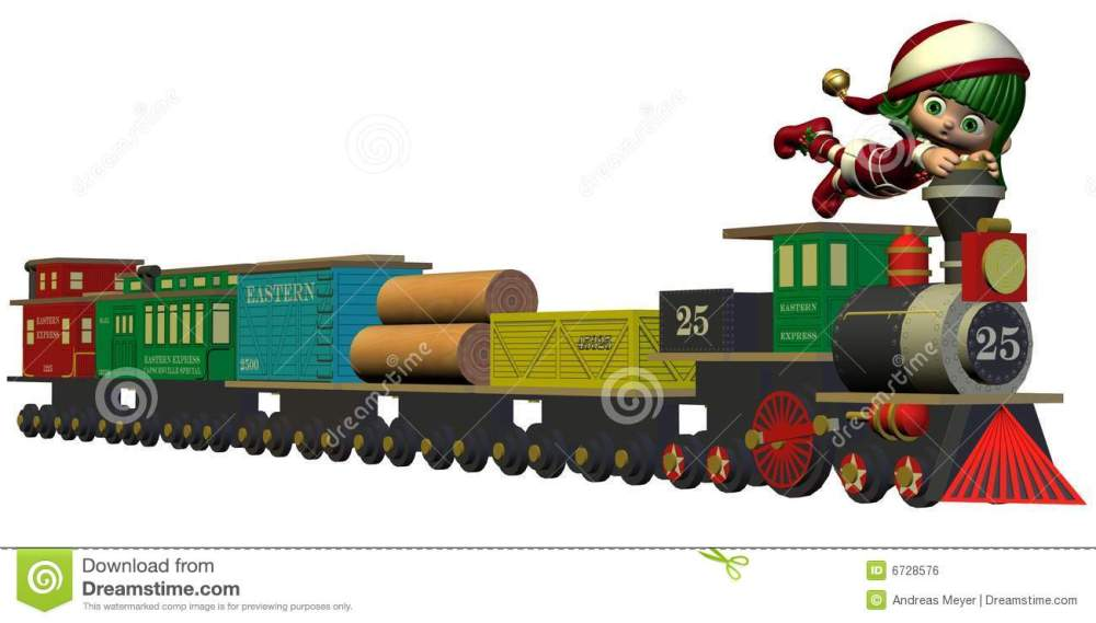 medium resolution of cute christmas elf with toy train