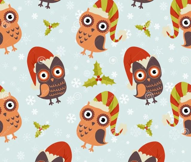 Cute Christmas Owl Seamless Pattern