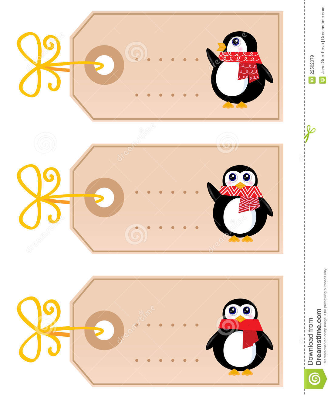 Cute Christmas Penguin Tags Stock Vector Illustration Of