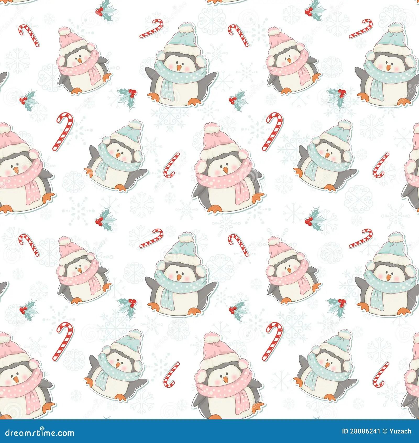 Cute Cartoon Penguins Wallpaper Cute Christmas Penguins Seamless Pattern Stock Vector
