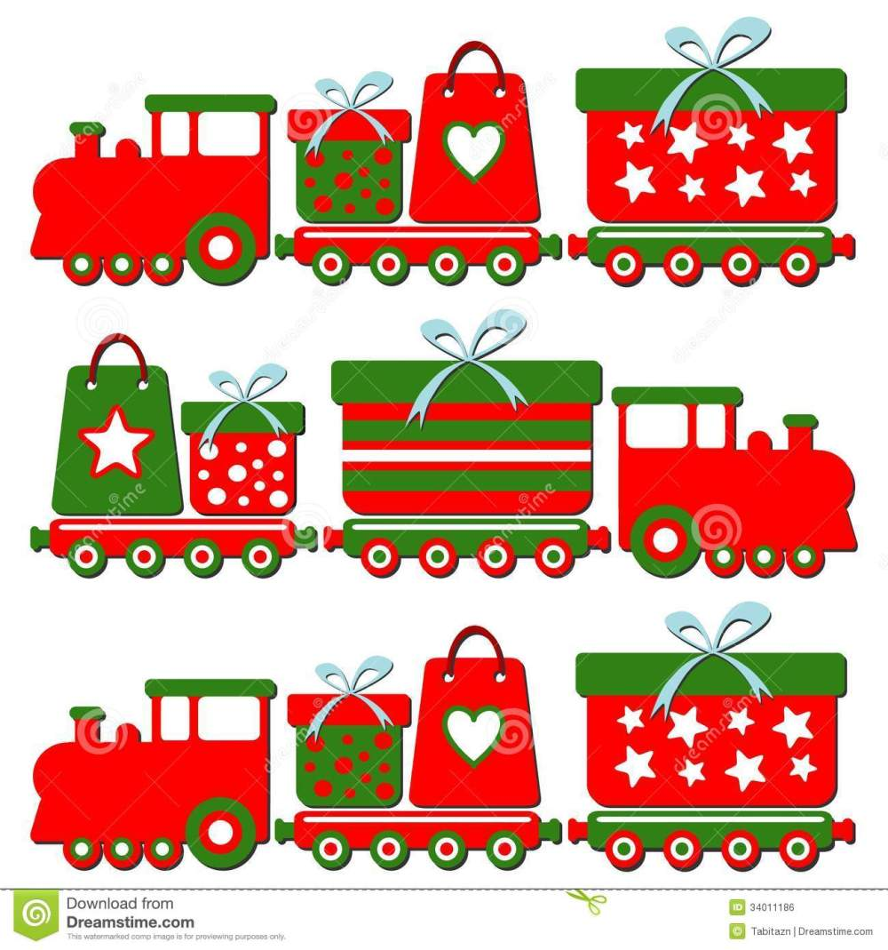 medium resolution of cute christmas steam train with gift boxes illus