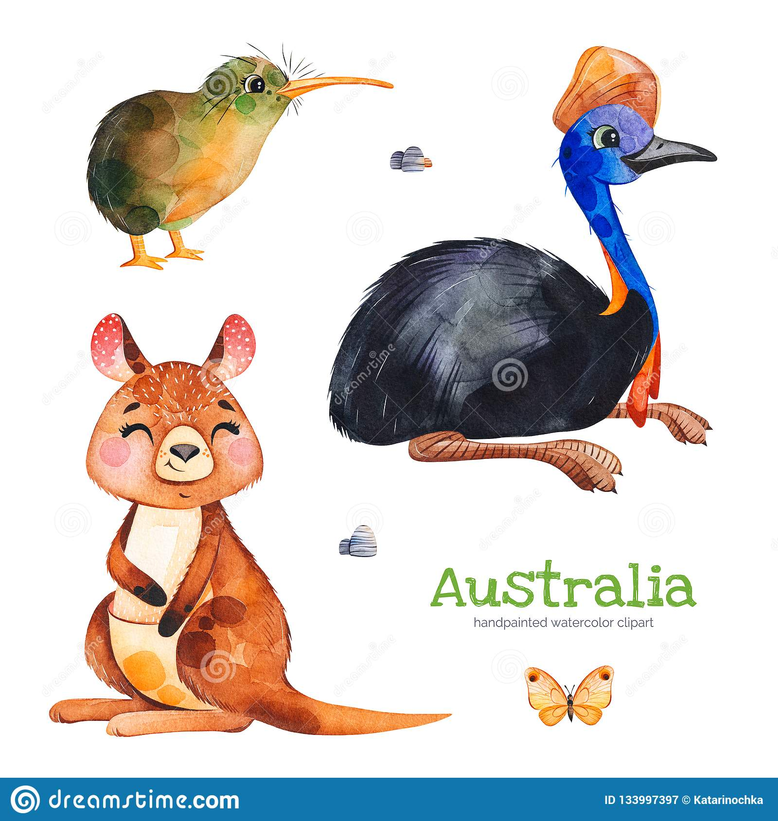cute collection with cassowary