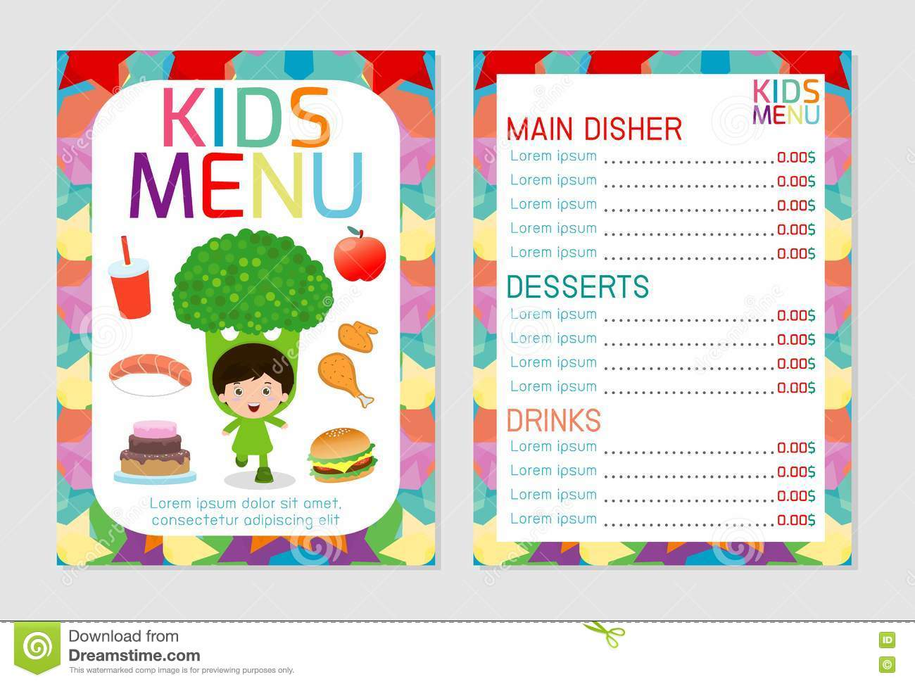 Cute Colorful Kids Meal Menu Vector Template Kids Menu