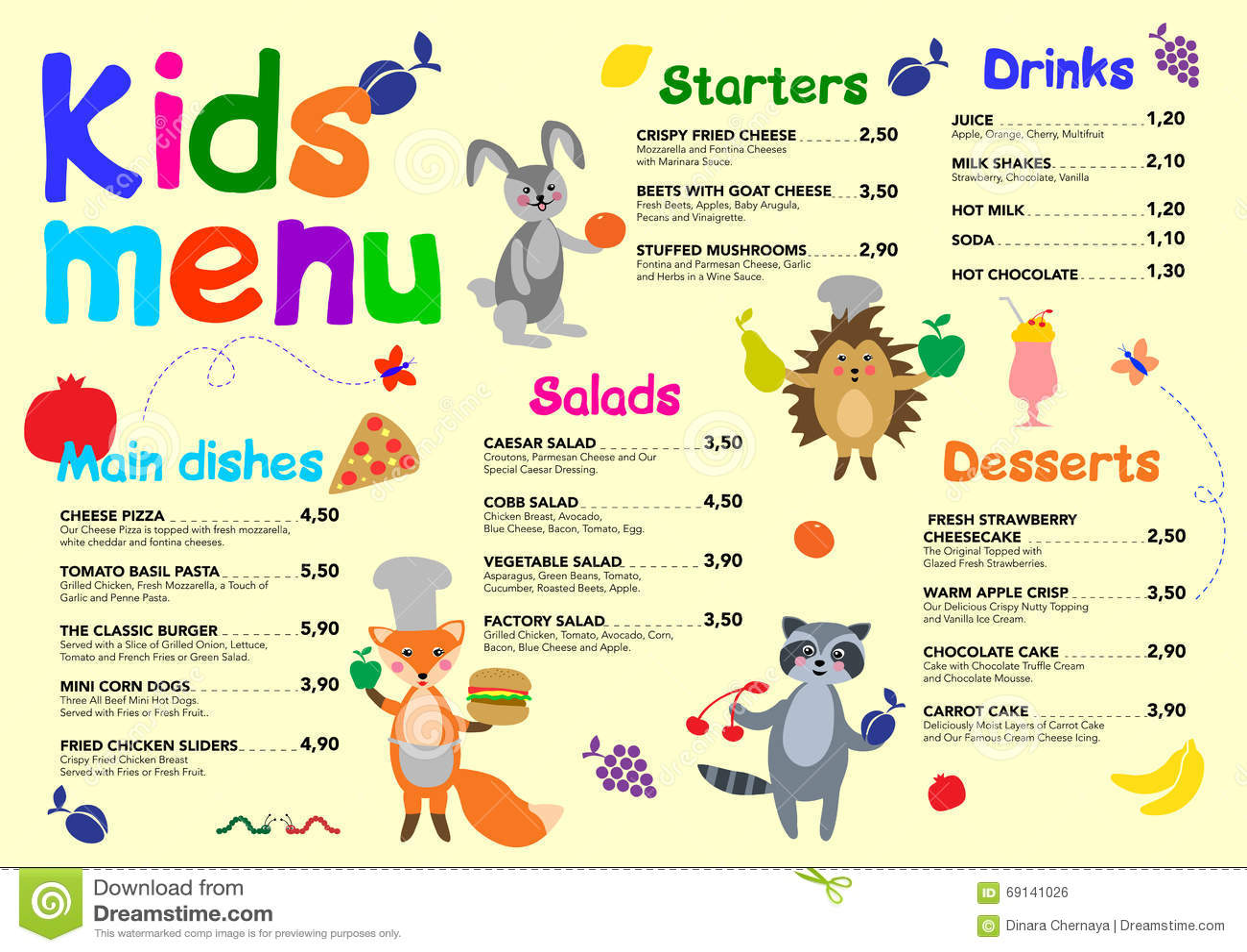 Cute Colorful Meal Kids Menu Template With Cute Little