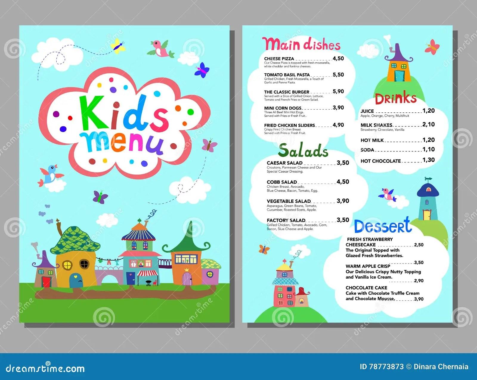 Cute Colorful Meal Kids Menu Template Stock Vector