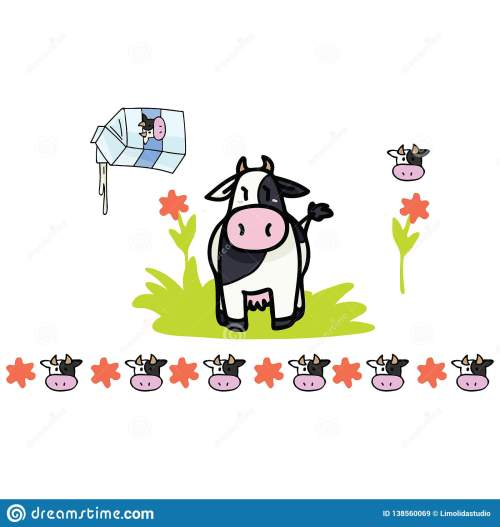 small resolution of hand drawn isolated farm animal dairy elements clipart for nature blog holstein graphic agriculture web buttons