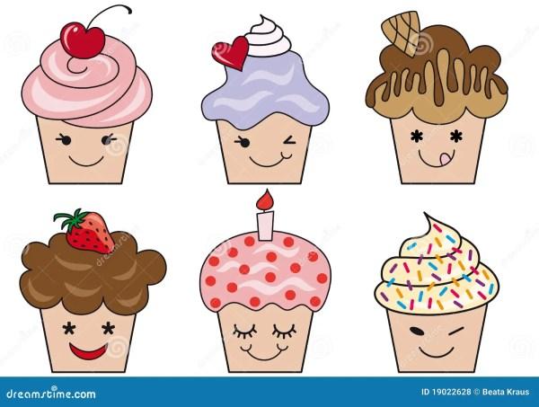cute cupcake faces stock vector