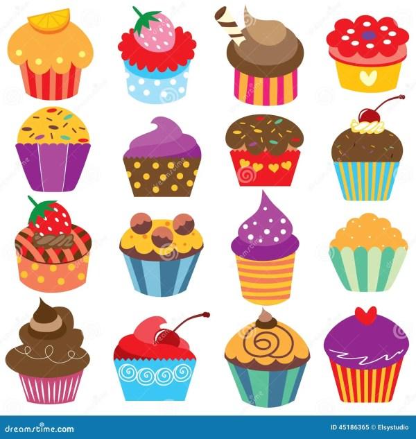 cute cupcakes clip art set stock
