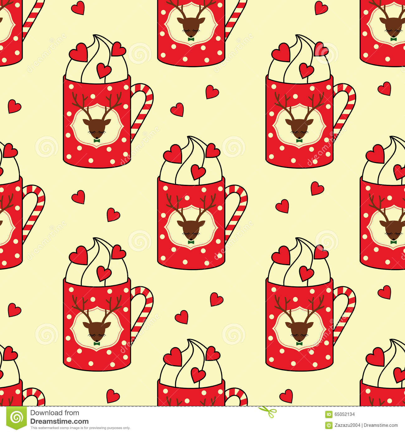Cute Cups With Deer Candy Cane Hearts Seamless Pattern