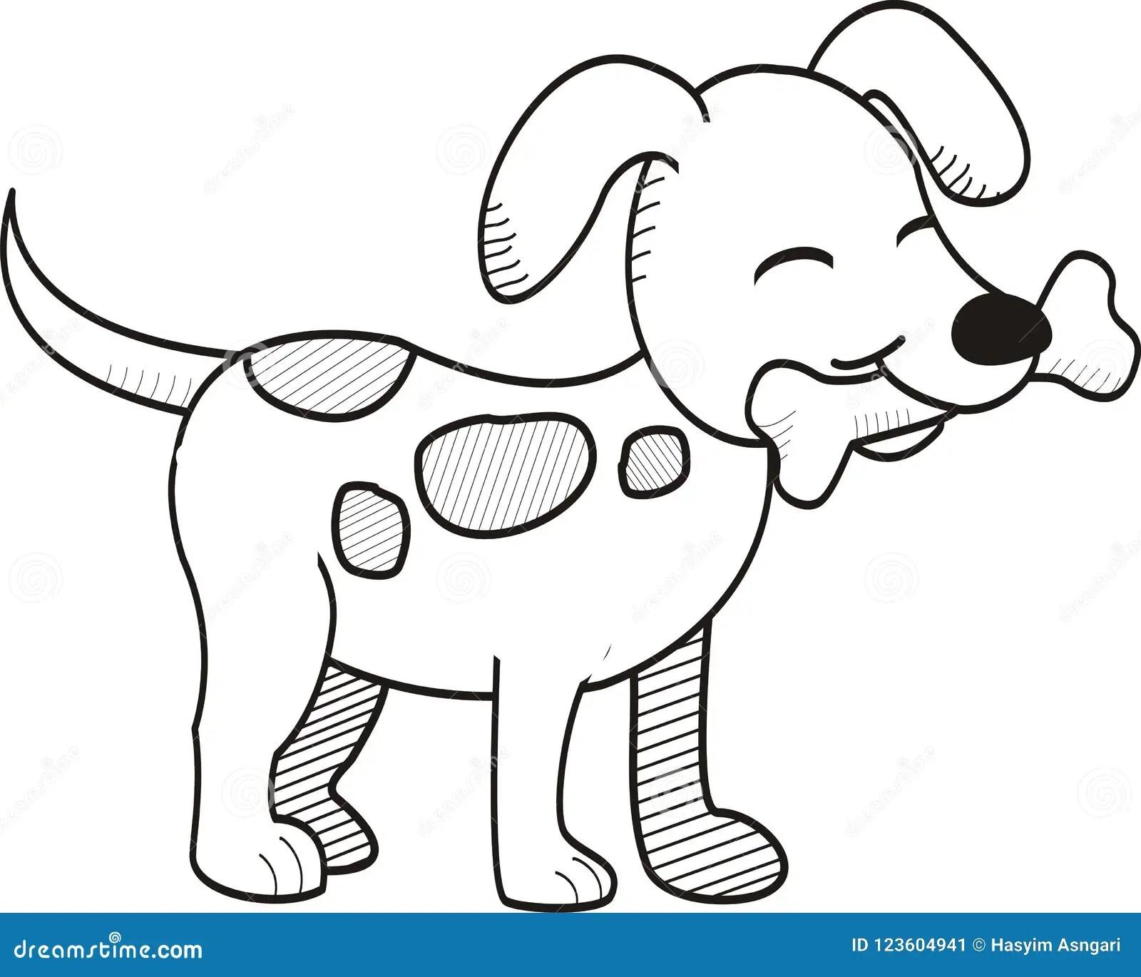 Cute Dog Bites Bone Hand Drawn Style Stock Illustration