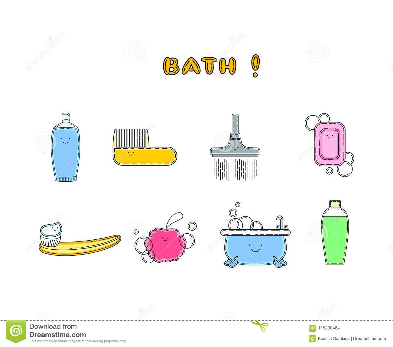 Cute Doodle Hygiene Related Items With Smile Stock Vector