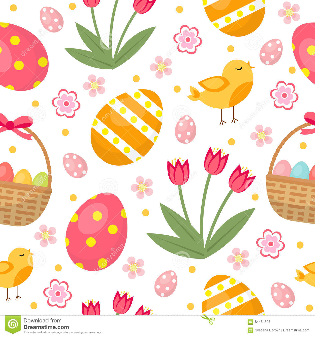 Easter Bunny With A Basket Of Eggs On Spring Flowers
