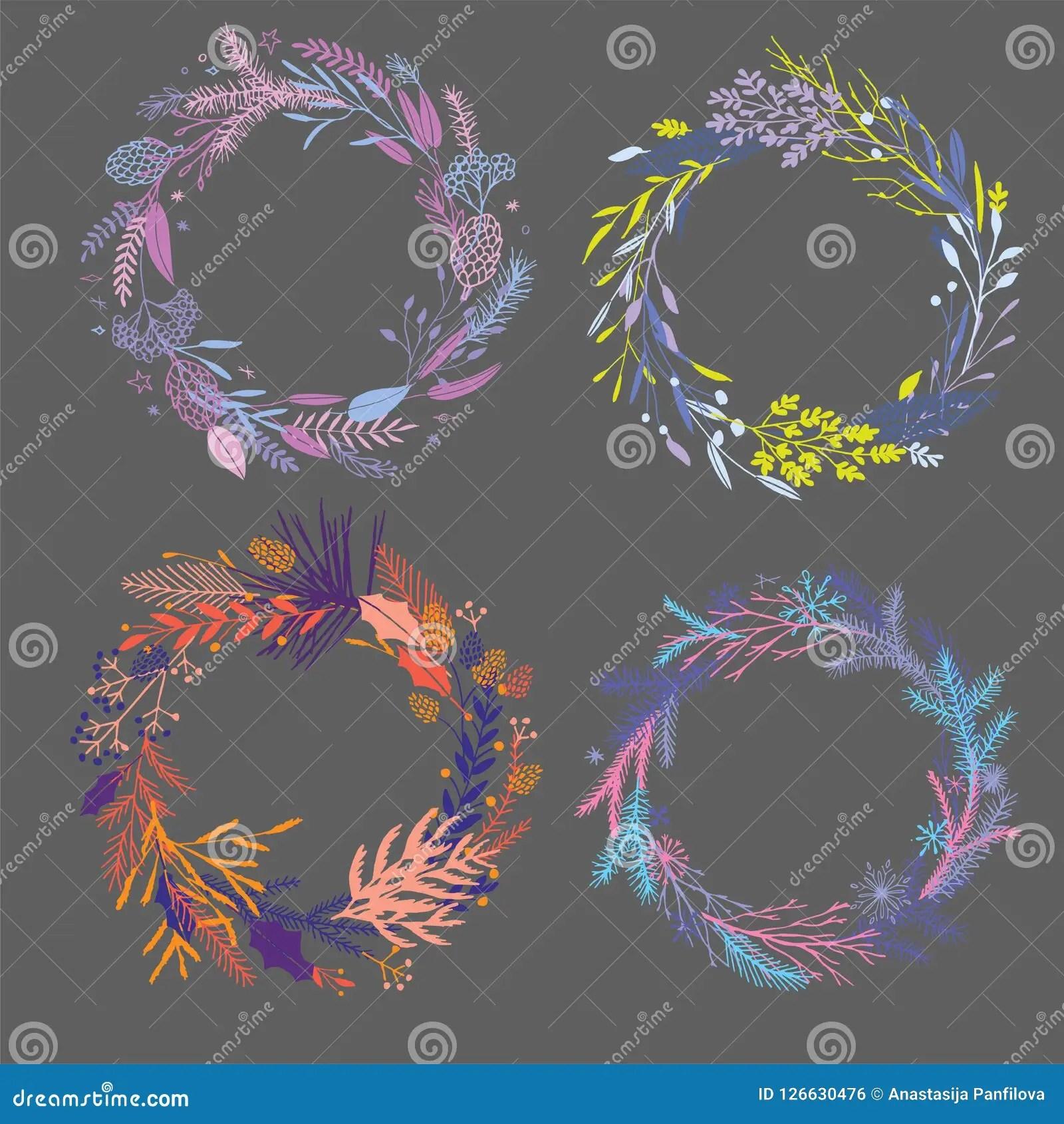 floral round wreaths stock