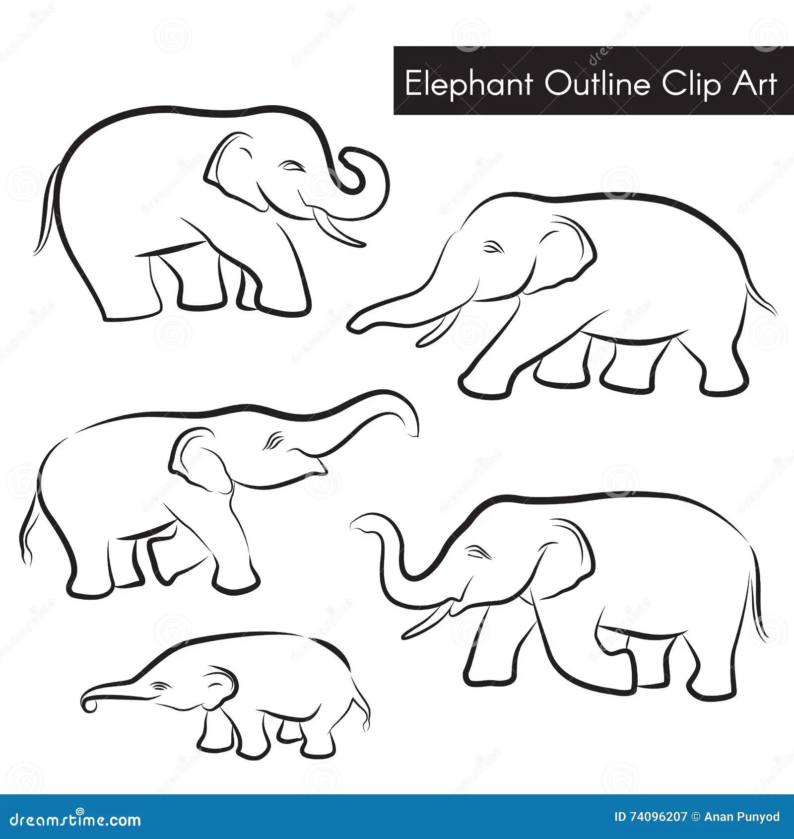 Cute Elephant Outline Clip Art Vector Set Design Stock